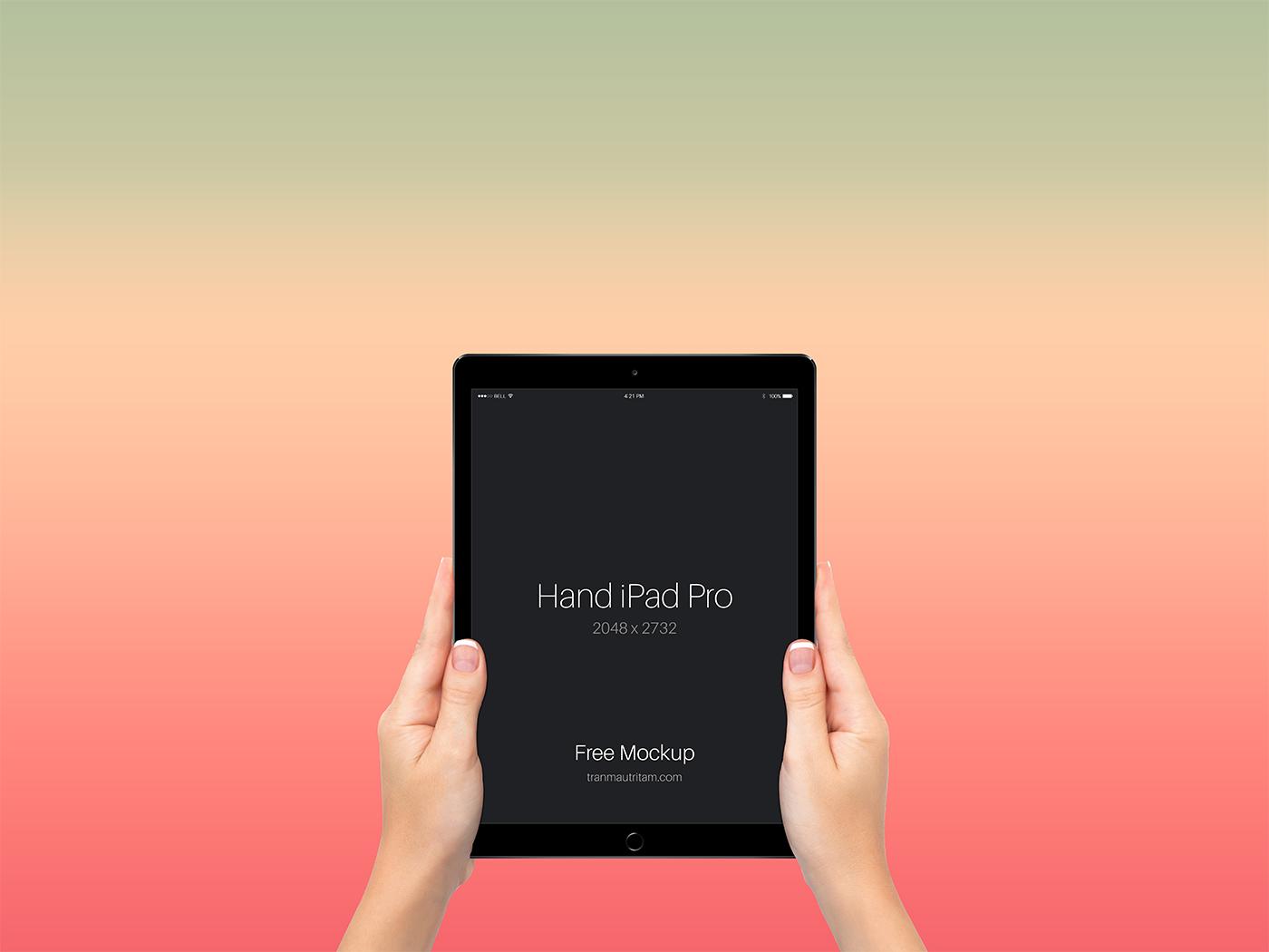 Free Hand with iPad Pro PSD Mockup
