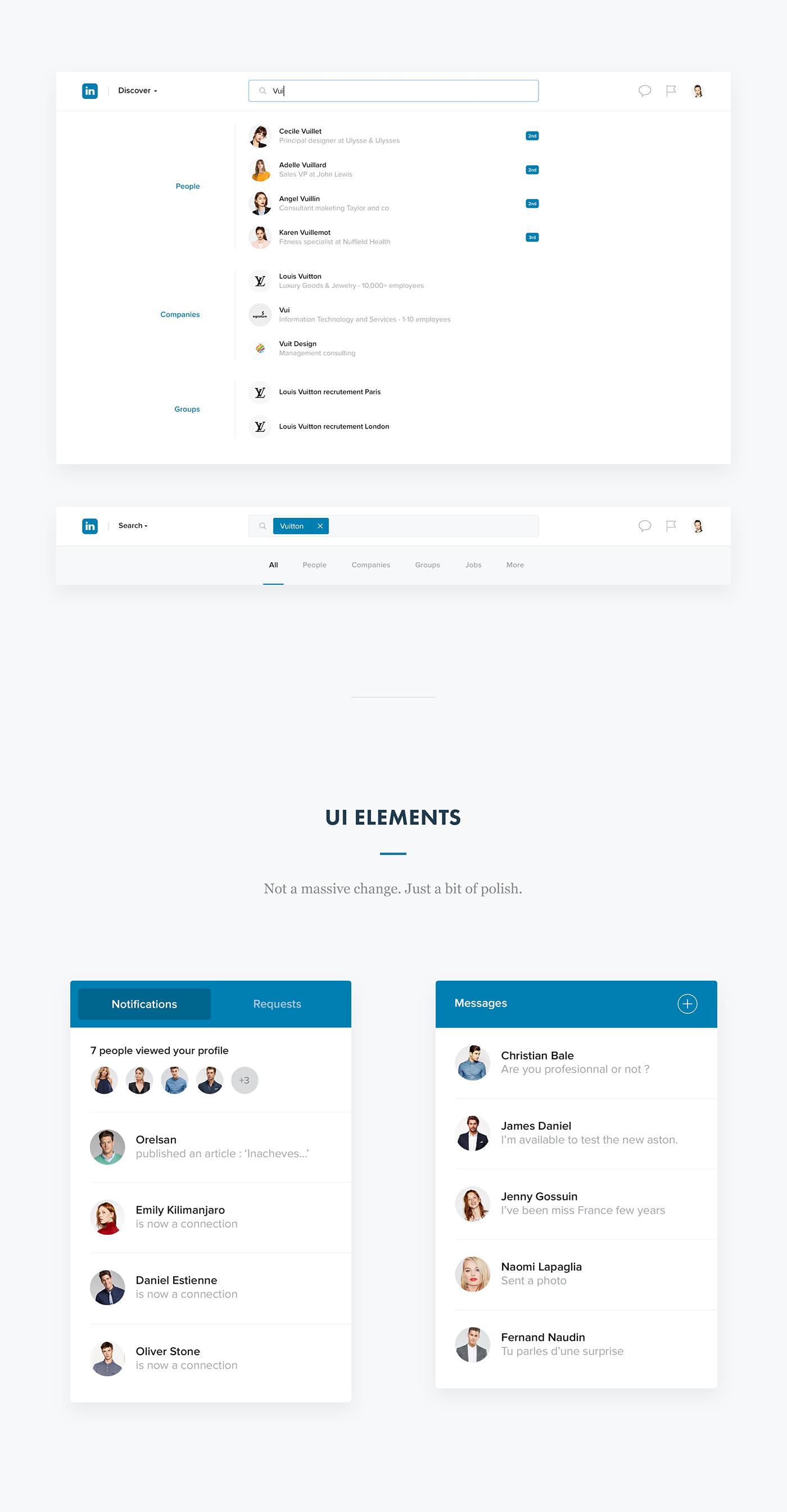 Linkedin redesign UI ux clean Interface business app facebook network