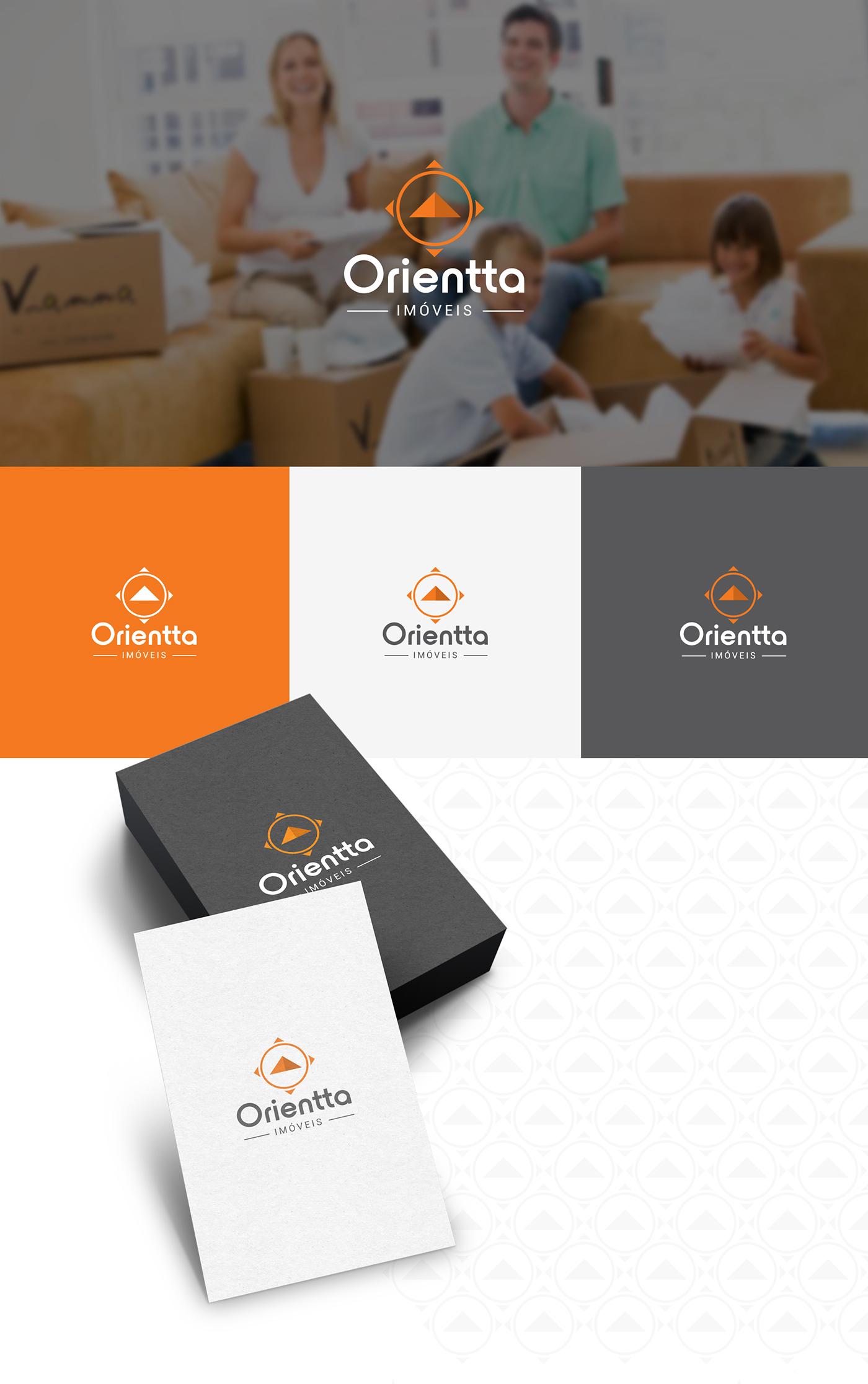 imobiliária orientação Bússola imóveis realestate brand logo orange compass