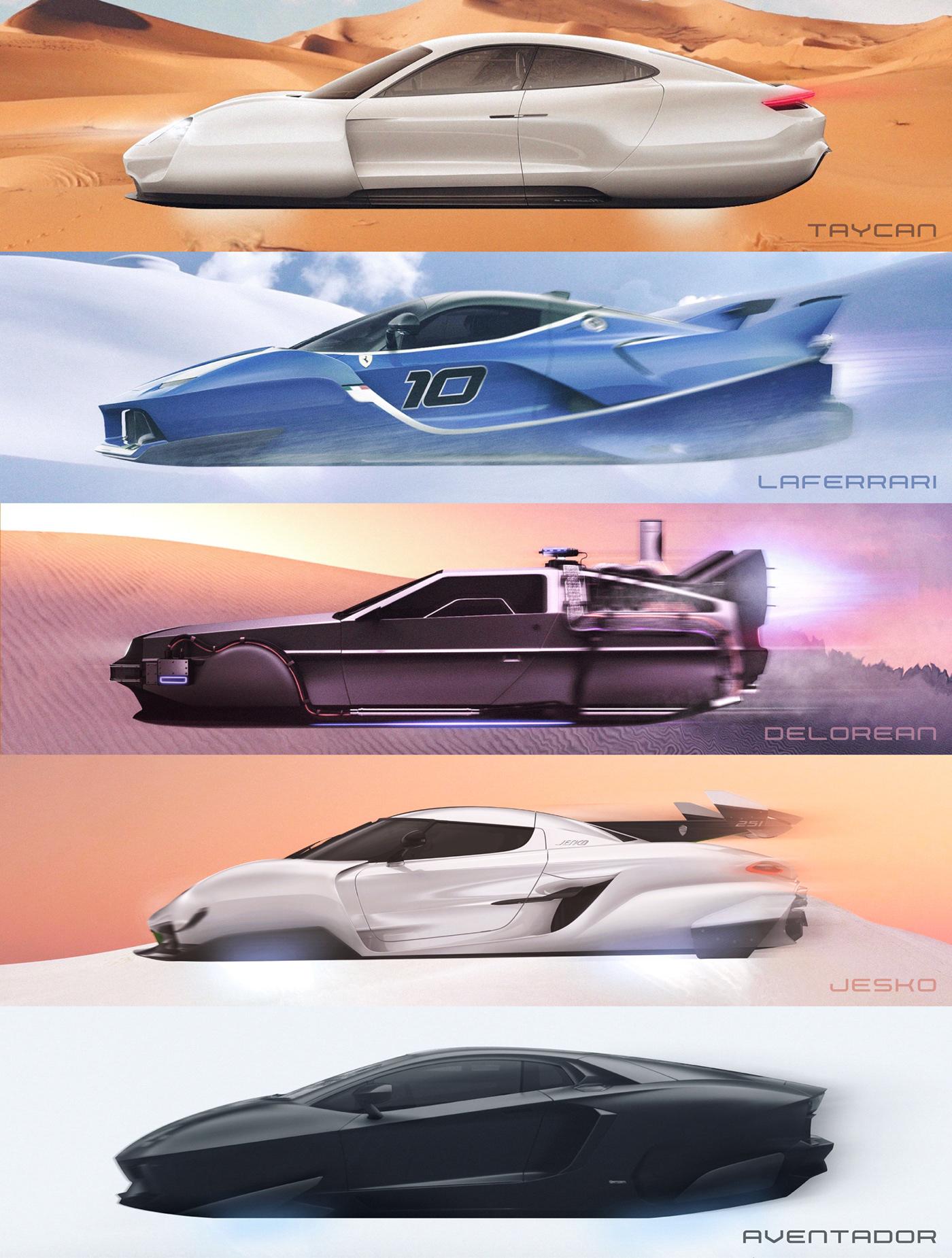 automobile Cars DeLorean FERRARI future futuristic graphic design  Koenigsegg lamborghini Porsche