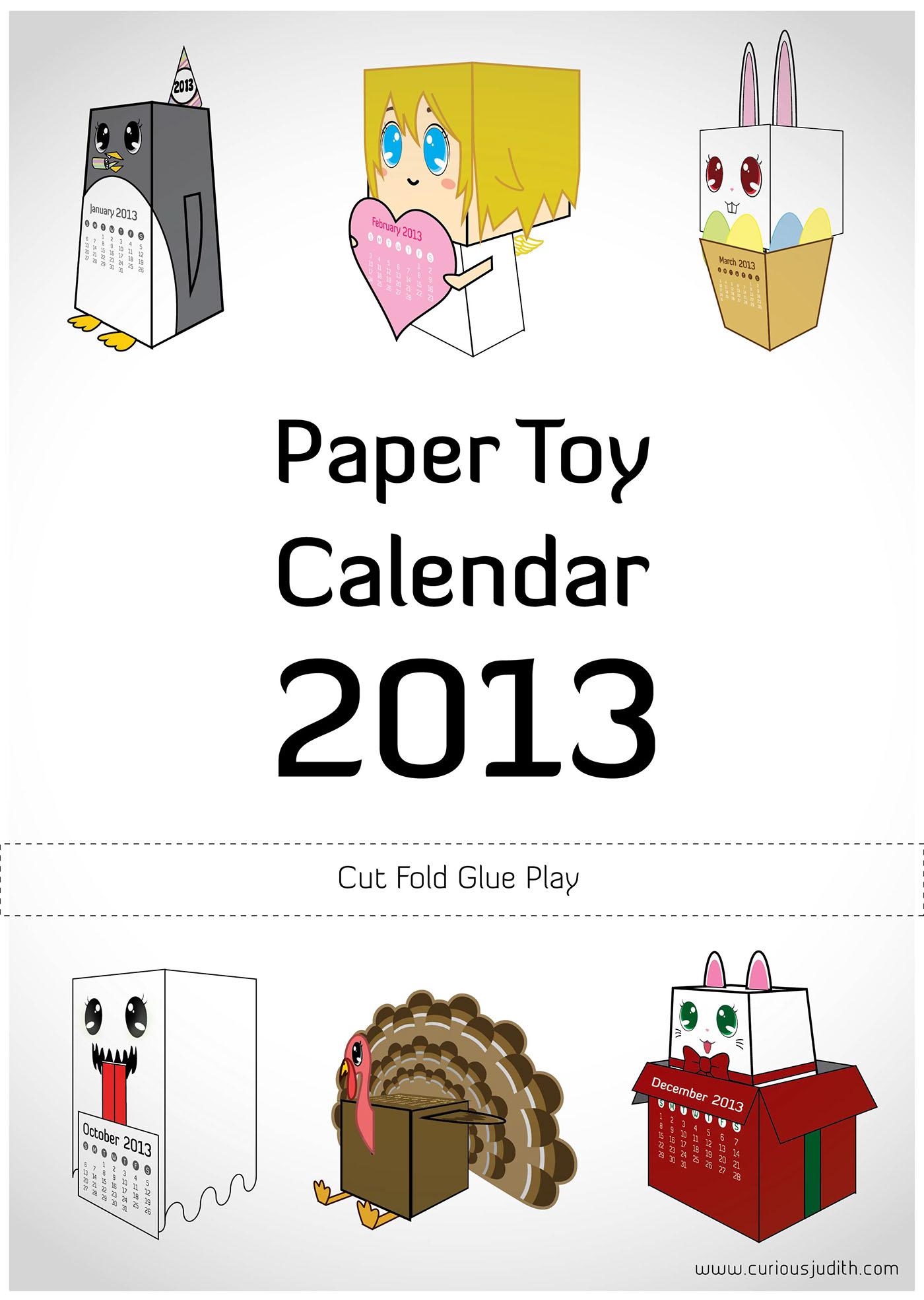 Character Design Job Singapore : Paper toy calendar on behance