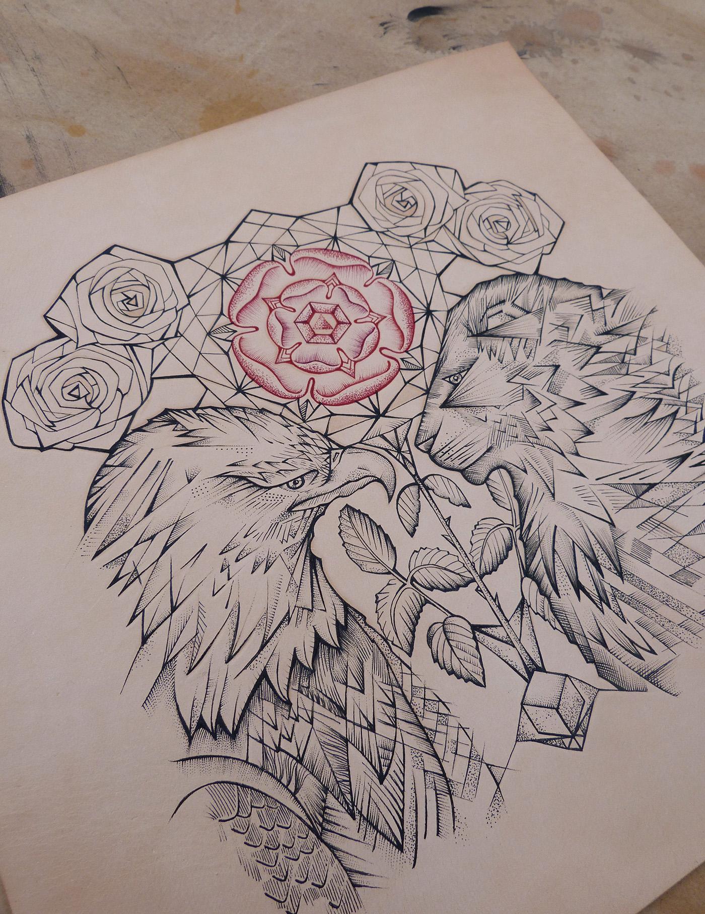 eagle lion tattooed leather art commission piece on behance. Black Bedroom Furniture Sets. Home Design Ideas