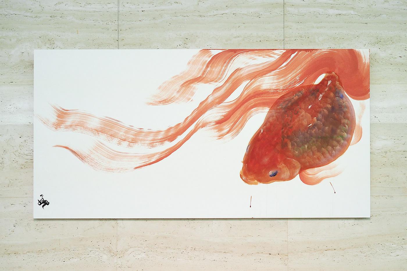 金魚 typography   goldfish gold Exhibition  chinesecharacter 漢字 kanji