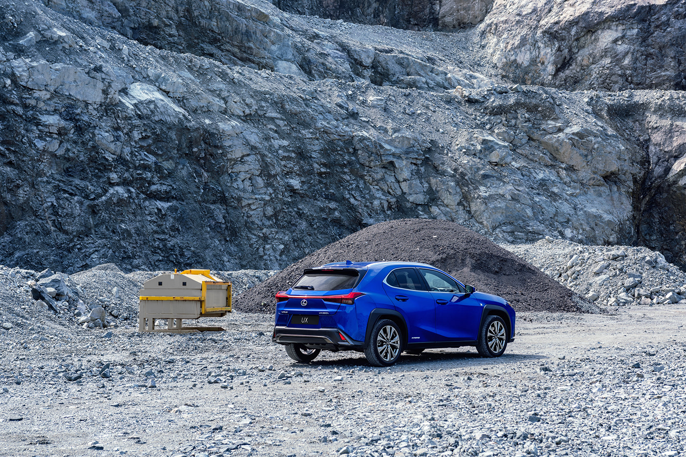 Lexus UX Hybrid car photography by Dean Wright Automotive. shot on lunar like surface.