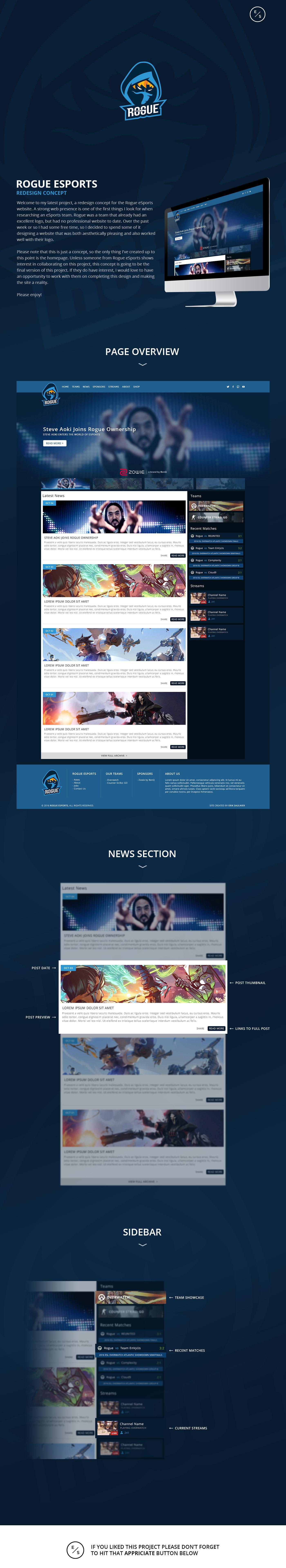 Website concept revamp esports rogue esports