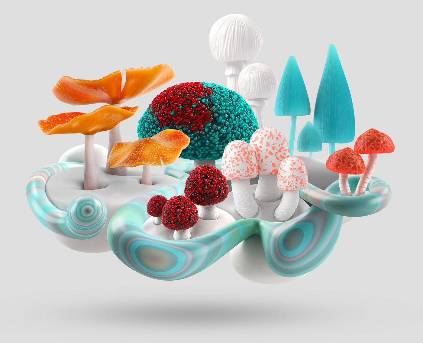 Adobe Portfolio mushroom 3D ecosystem modo organic
