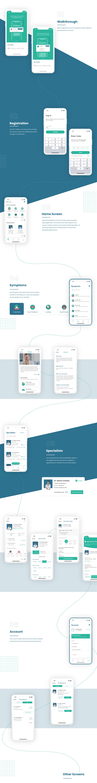 Dental app Dental Symptoms dental ui Dentist Booking healthcare iOS design ios ui portfolio mobile design ui design UI/UX