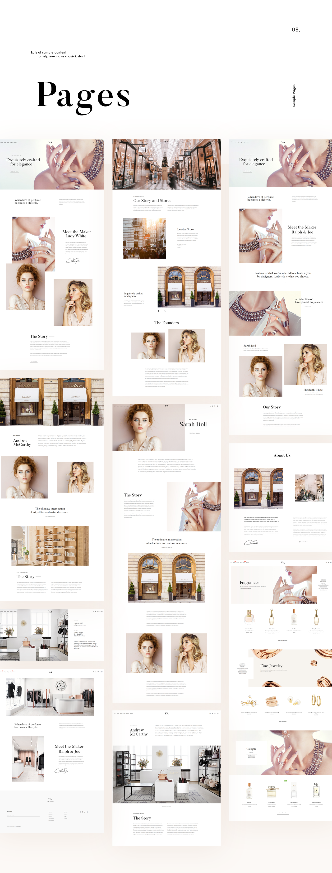 wordpress Theme Woocommerce perfume minimal UI beige Fashion  store shop