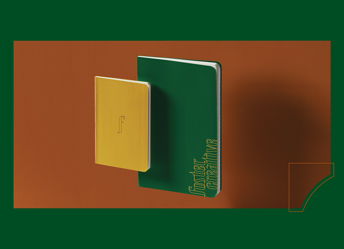 A visual brand application of a creative studios, Foster Creative, brand on notebooks.