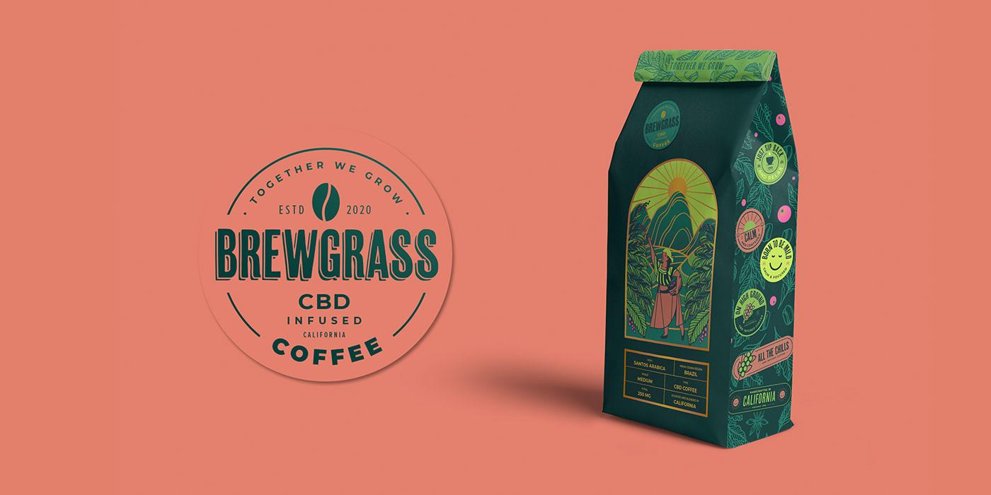 Badges branding  cafe CBD Coffee Label logo Packaging socialmediacontent typography