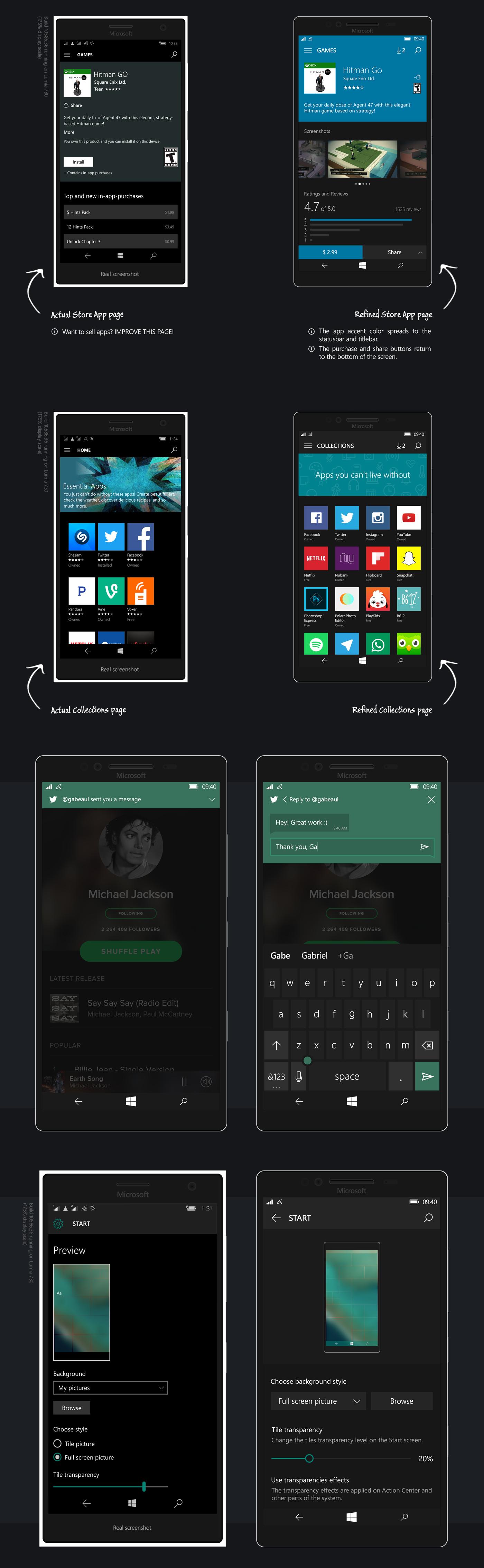 windows windows 10 mobile windows mobile windows 10 Microsoft concept design UI ux GUI user experience user interface phone windows phone lumia