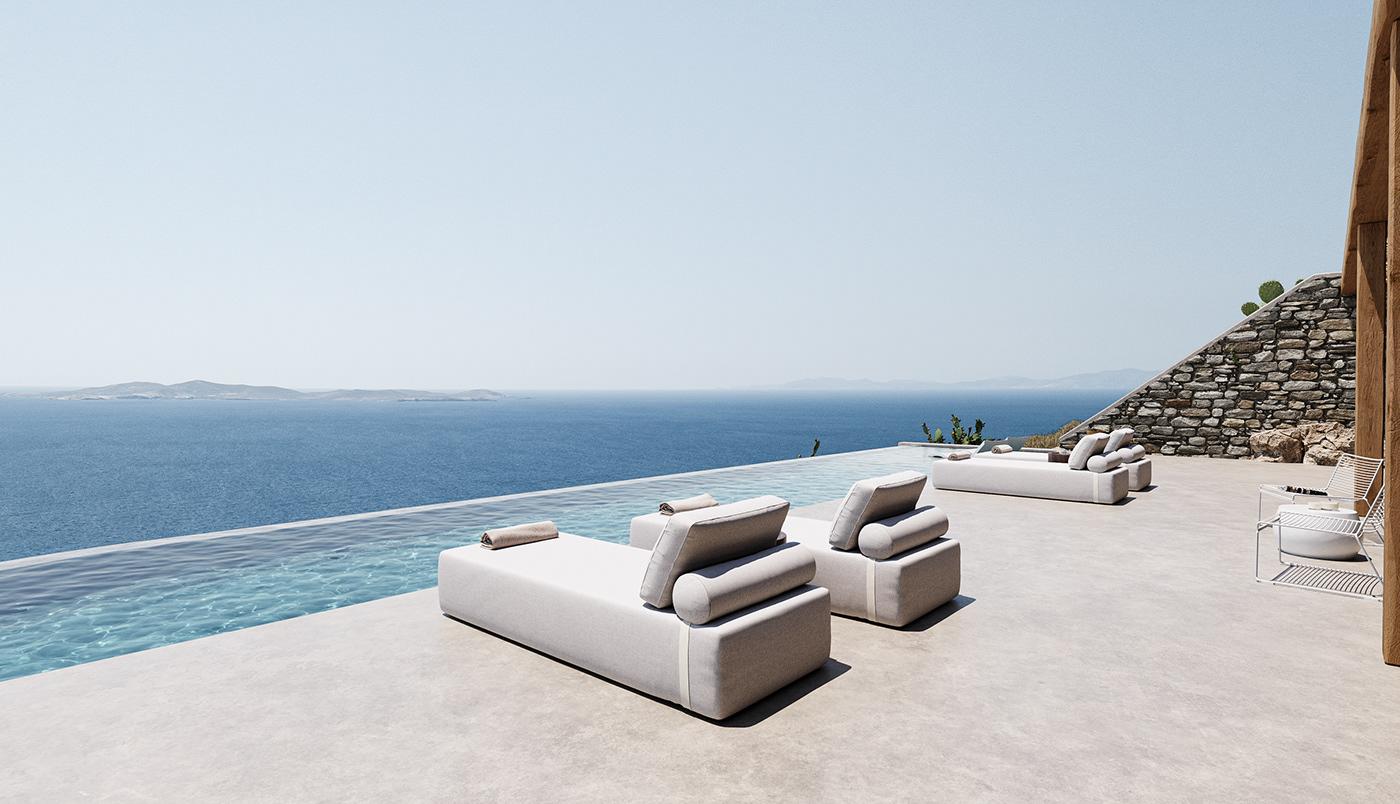 architecture blue CHOROGRAFOI greek Landscape Mykonos Pool stone Sun White