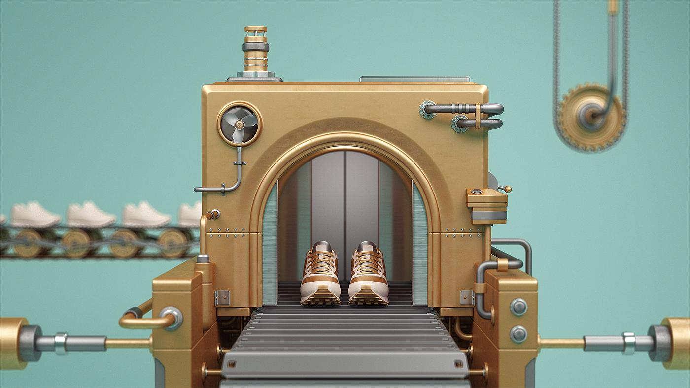 IBM 3D wood gold maps machines cardboard glass molistudio