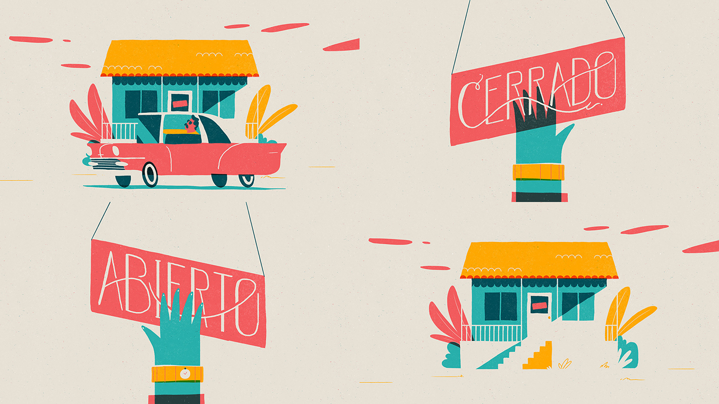 airbnb cuba obama graphic Playful gif motion design characters flat