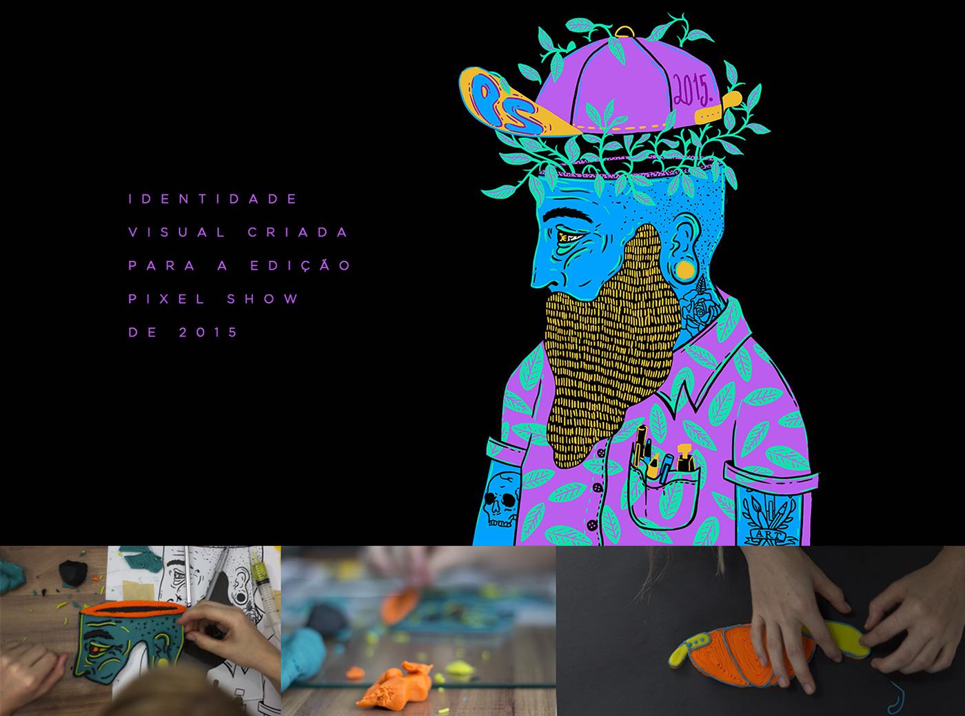 zupi pixel shor hype Character tattoo men beard t-shirt Tropical leafs Play Dough Event art