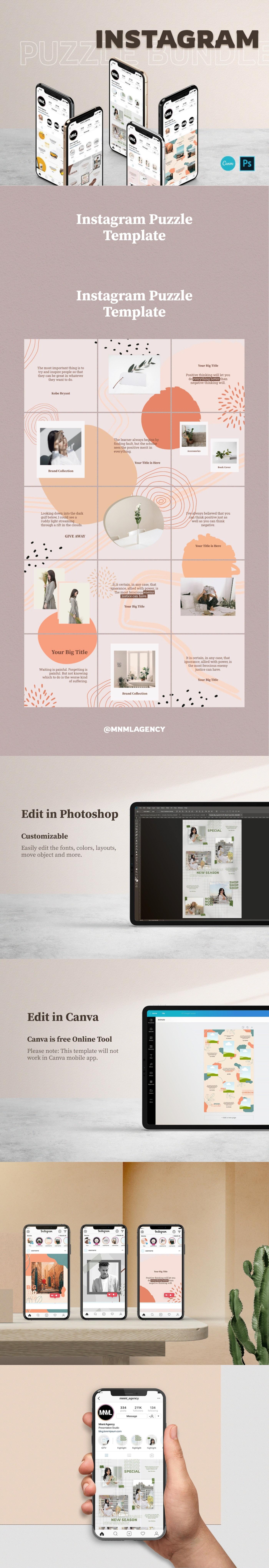 design free images instagram posts potos puzzle social media template templates