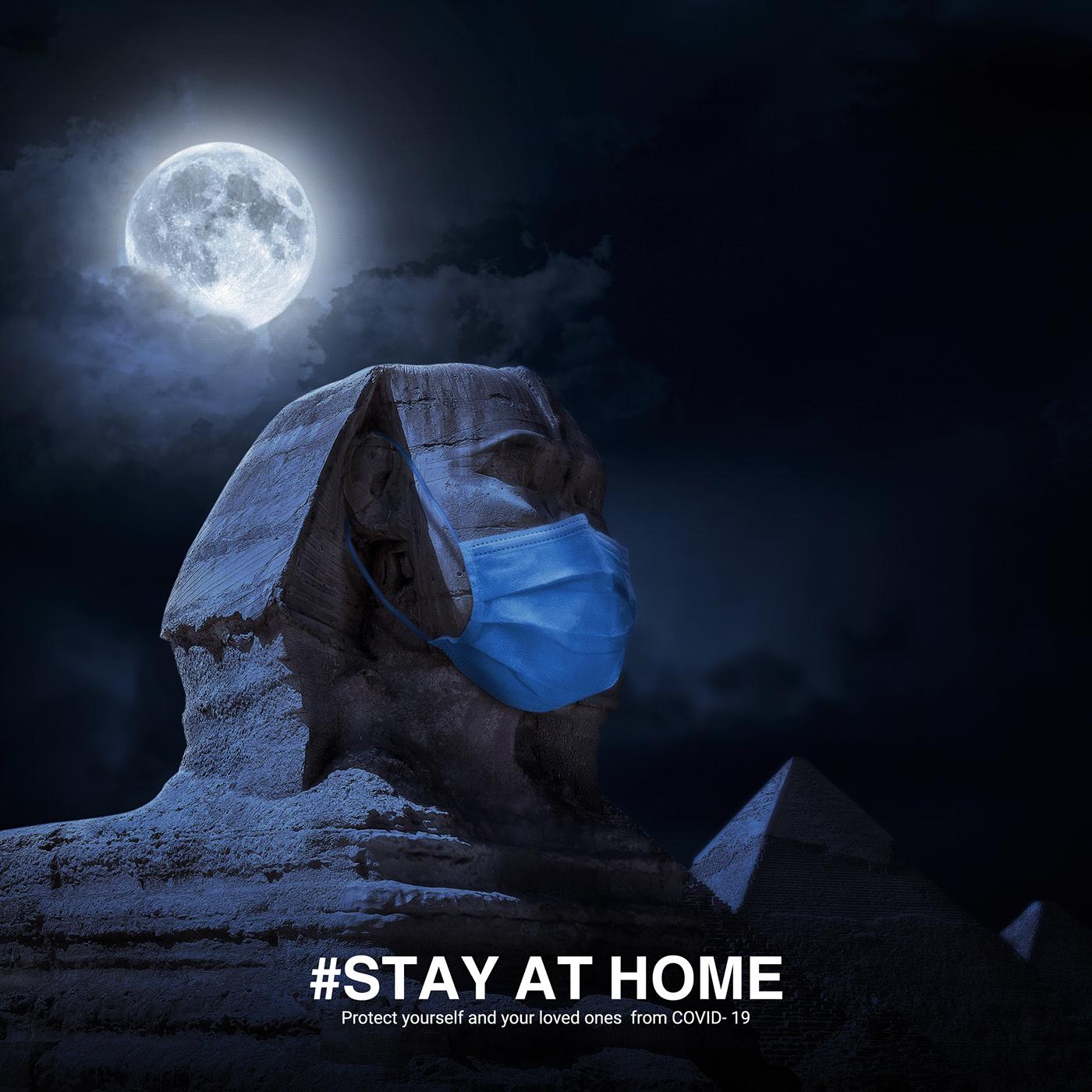 Coronavirus COVid creative ads egypt manipulation mask moon pyramids sphinx stayathome