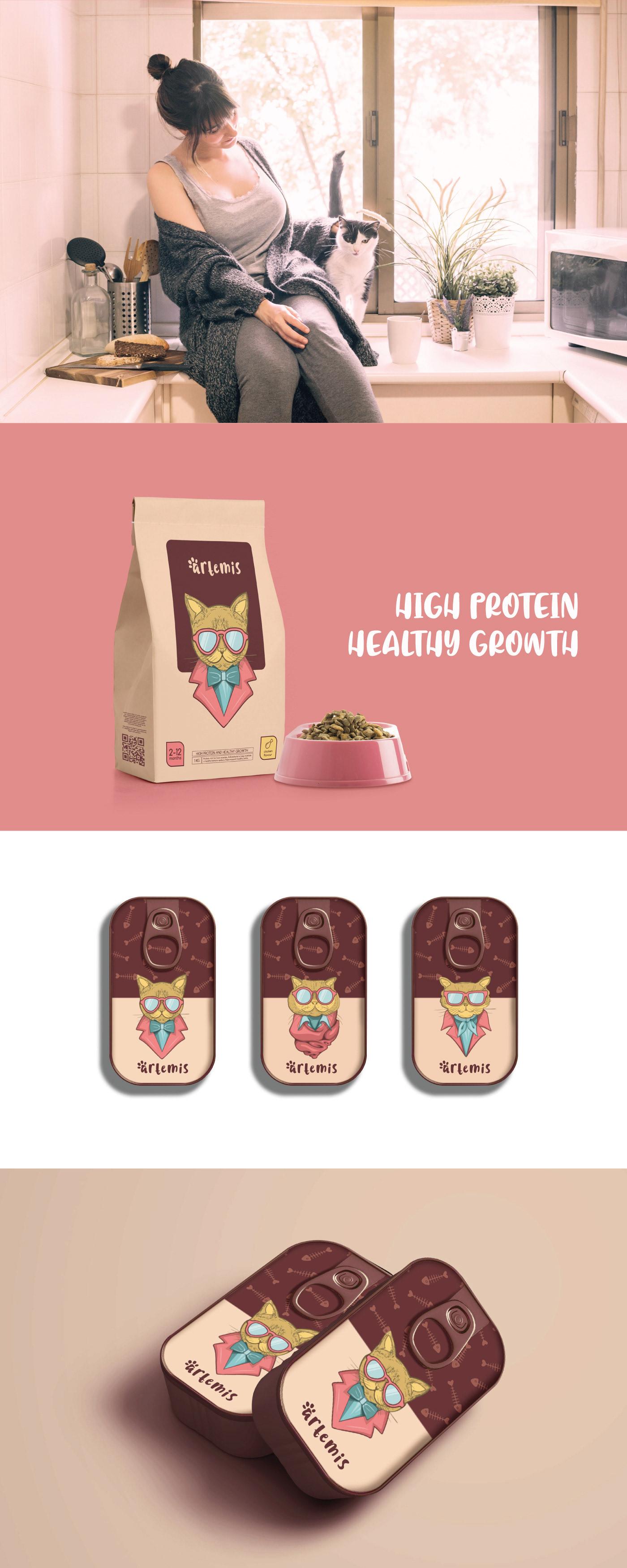 Cat Food  Packaging ıllustration pink artemis packing