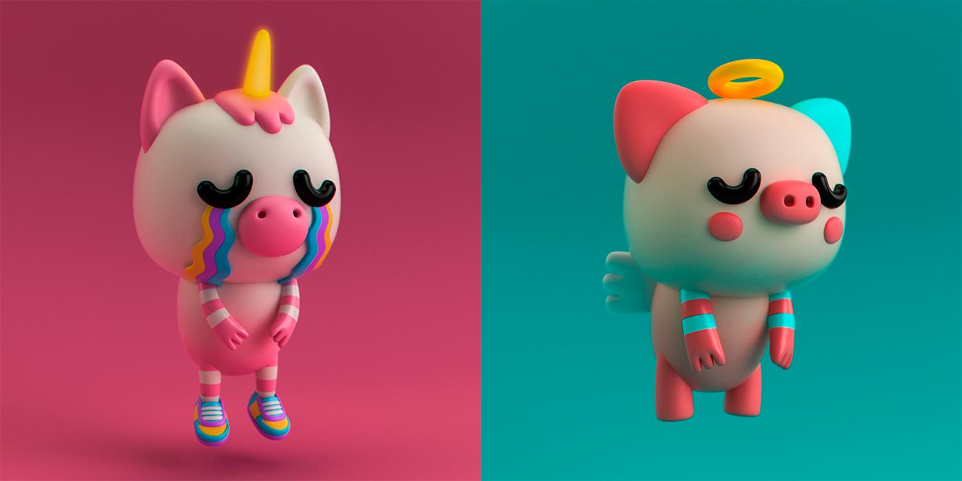3D Render toy blender cute 3d charater cinema 4d c4d modeling octane