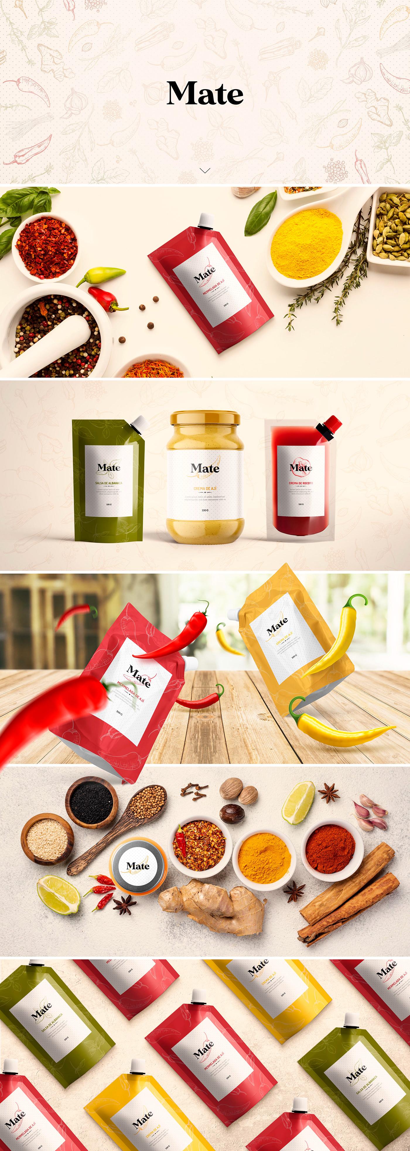 chili design graphic design  Label logo Mockup package pepper sauce spices
