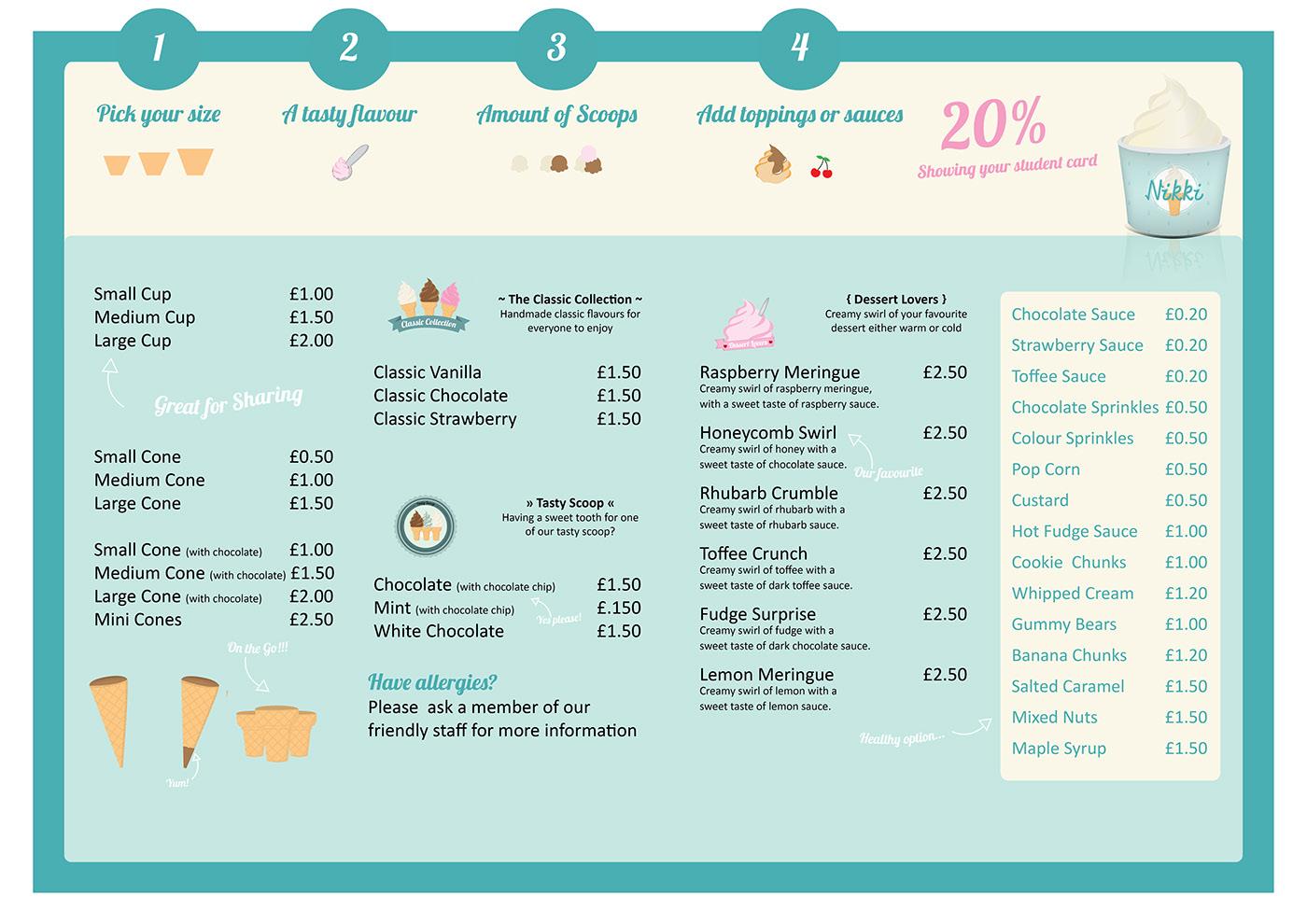 ice cream design graphic brand logo creative Web vector shop Window uniform package menu infographic