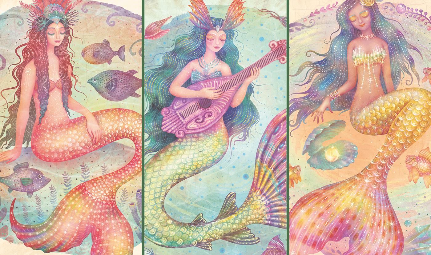 Character design  fantasy ILLUSTRATION  Kickstarter Magical Mermaids mermaid mermaids watercolor tarot