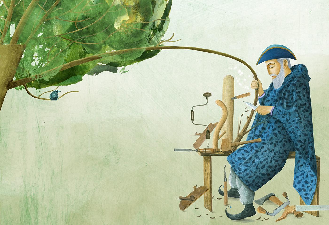 ILLUSTRATION  children's book fantasy fairy tale surrealism book illustration Magic   children editorial painting