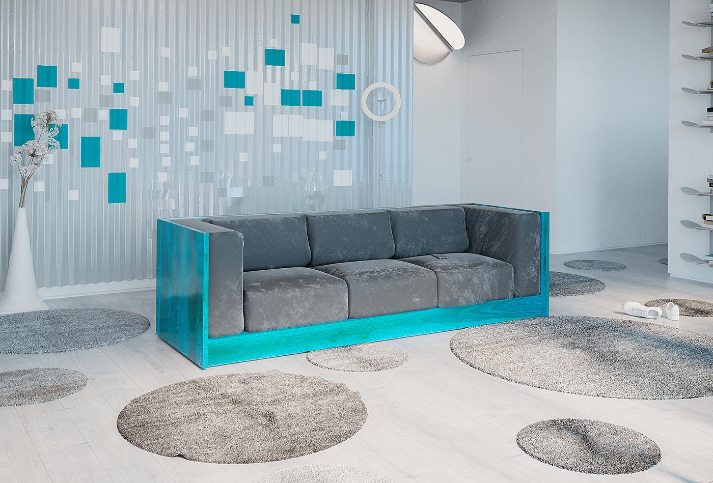 desgn gray sofa turquoise wood