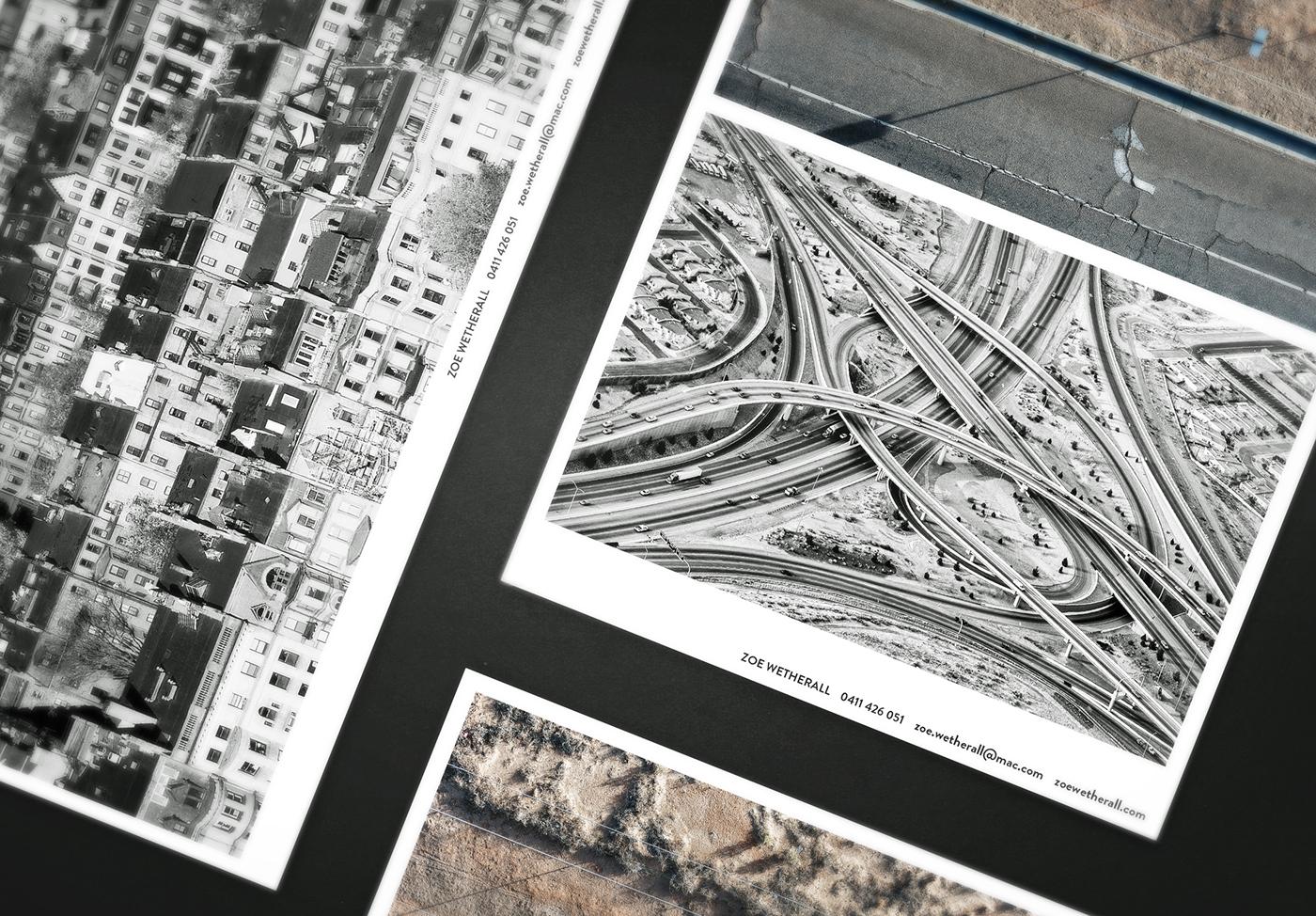 Aerial above graphic minimal clean letterpress triplex Business Cards
