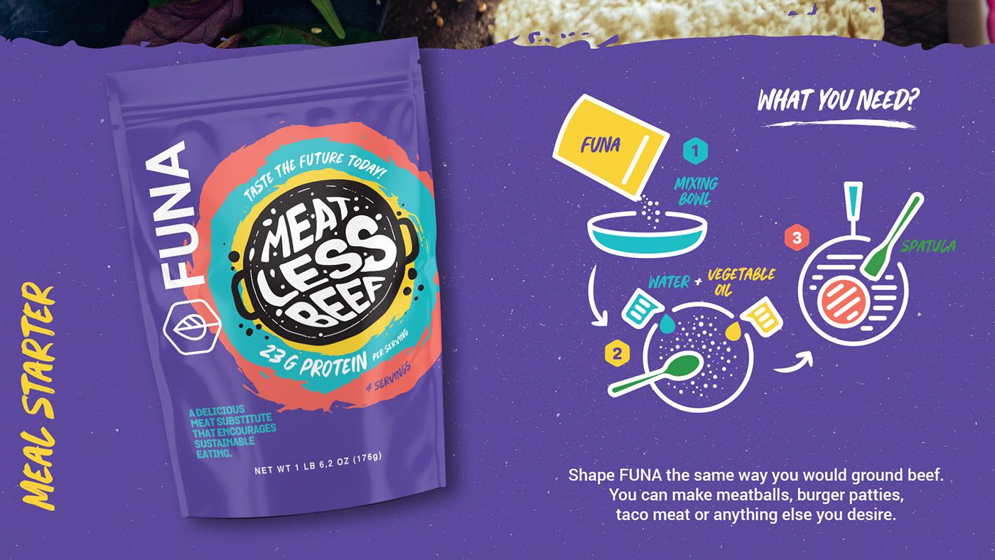 beef Foods Funa MEAL STARTER MEATLESSBEEF Packaging sticker