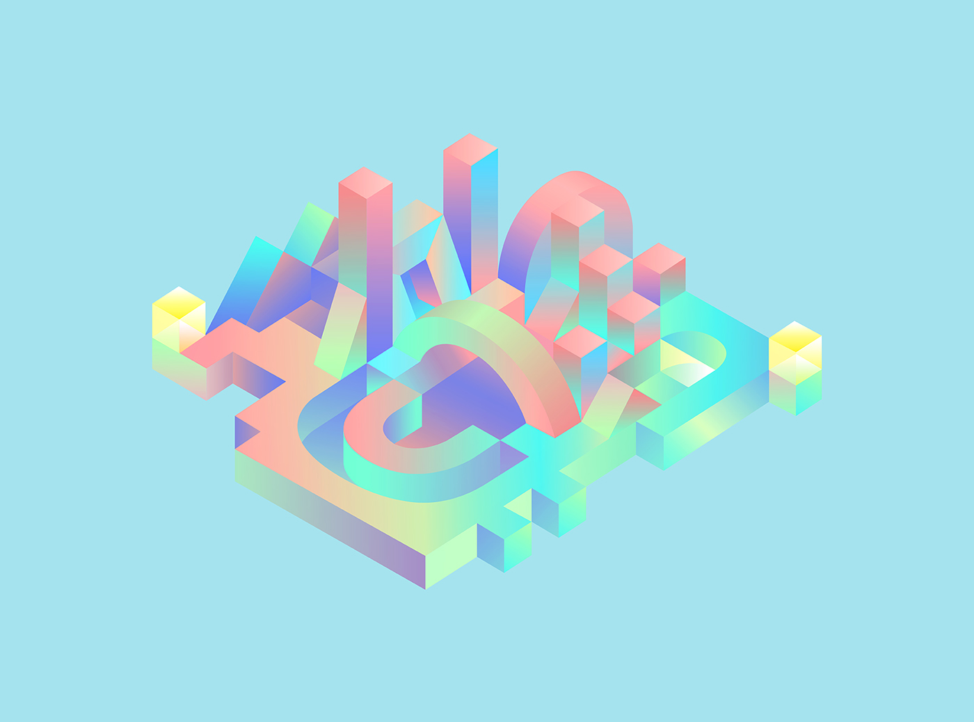 abstract geometric Isometric pastel vibrant Calligraphy   gradient cubes color digital