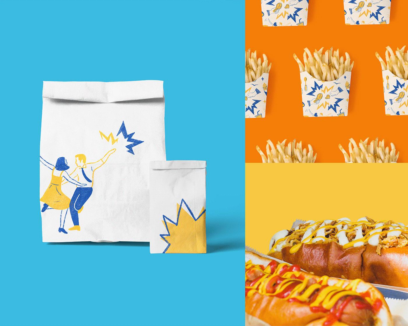 Brand Design brand identity branding  Fast food Food  fried chicken ILLUSTRATION  Packaging restaurant visual identity