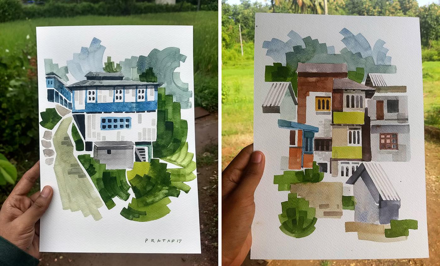 art artwork Drawing  illusstration Landscape painting   sketch travelsketch waterclour watercolour sketch