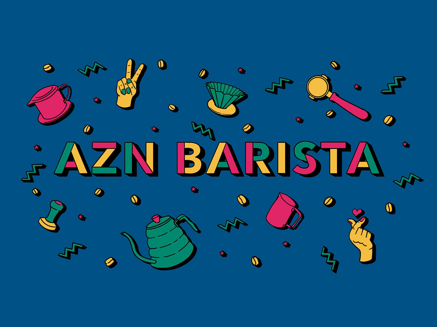 asian barista azn barista barista Coffee hario korean heart origami  Portafilter slow pour design Tshirt Design typography