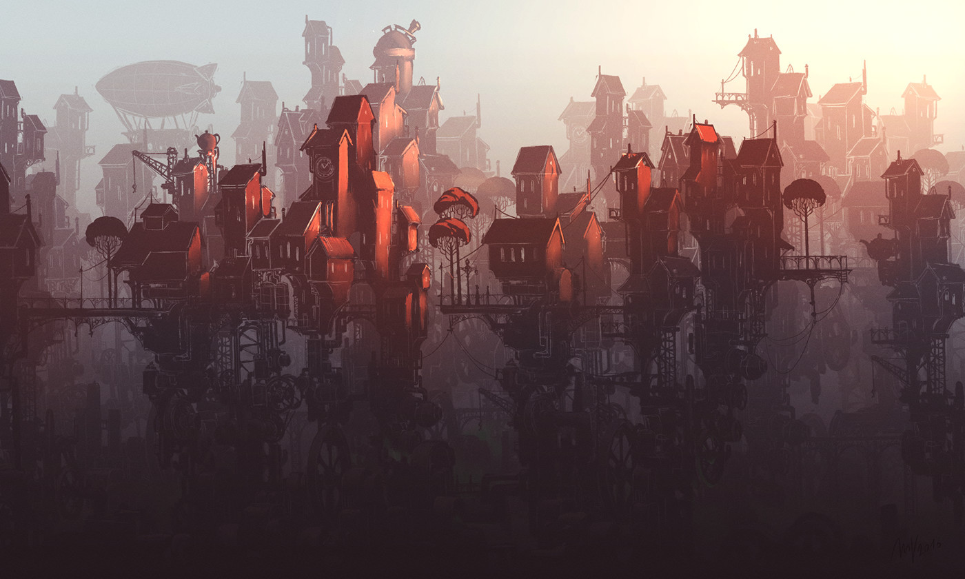 steampunk city sketch on behance