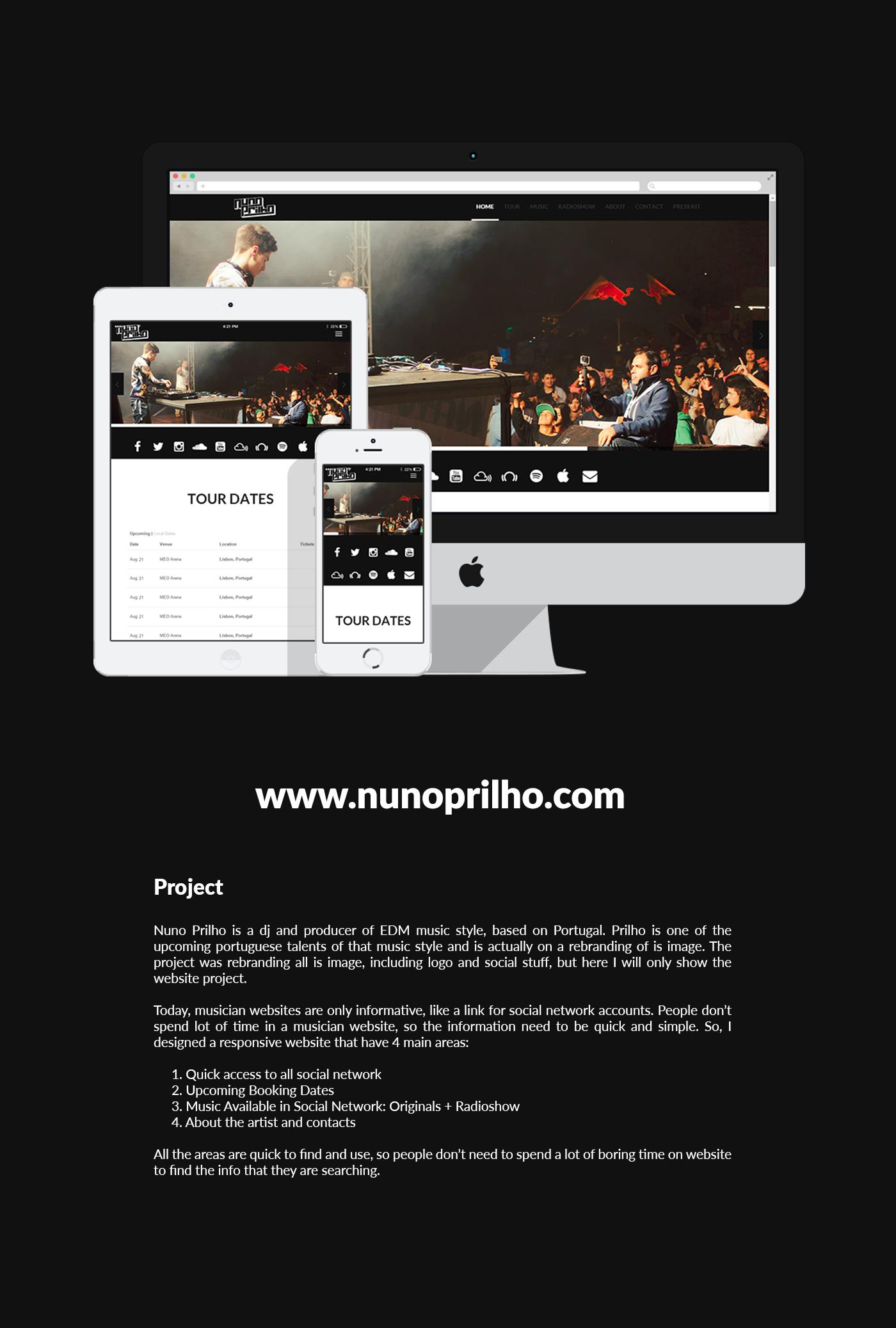 Responsive,dj,Website,Web,producer,Nuno Prilho,edm,web interface