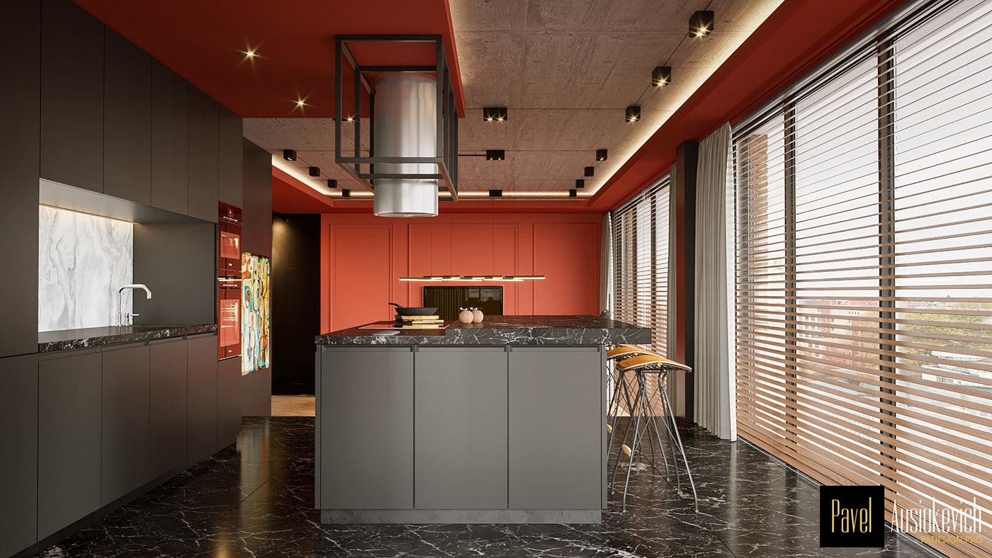 3D model apartment furniture Interior interior design  penthouse