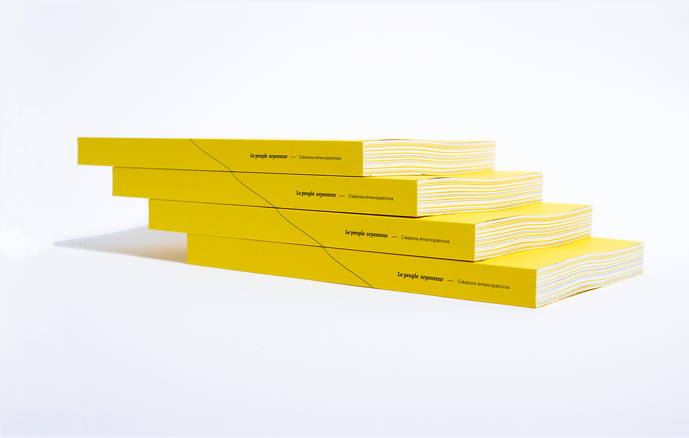 Peuple arpenteur editorial print OBNL artist Association yellow purple Montreal