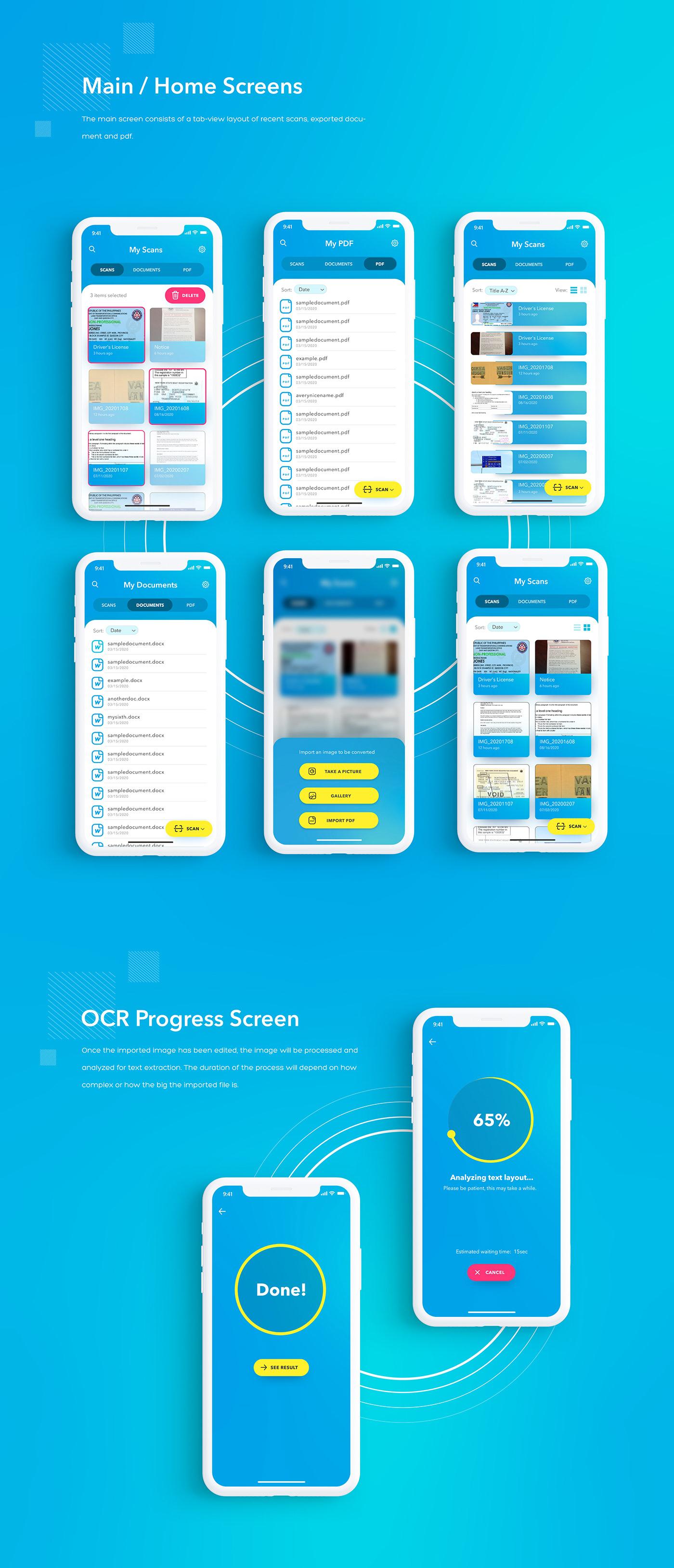 UI/UX Mobile app landing page OCR Web Design  app design ui design