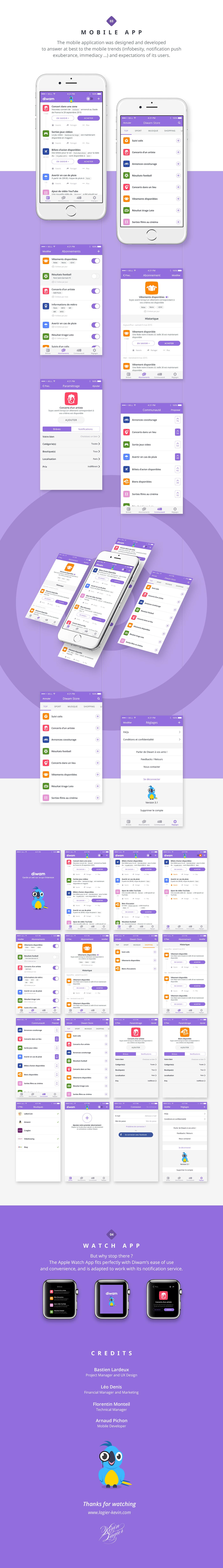 Diwam app mobile service Mascot parrot personalized UI ux