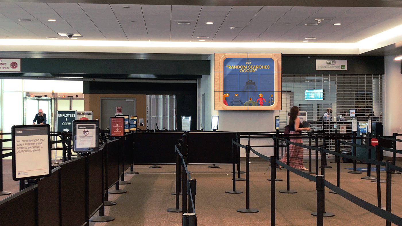 airport Travel Character design  simple minimal motion design TSA character animation after effects