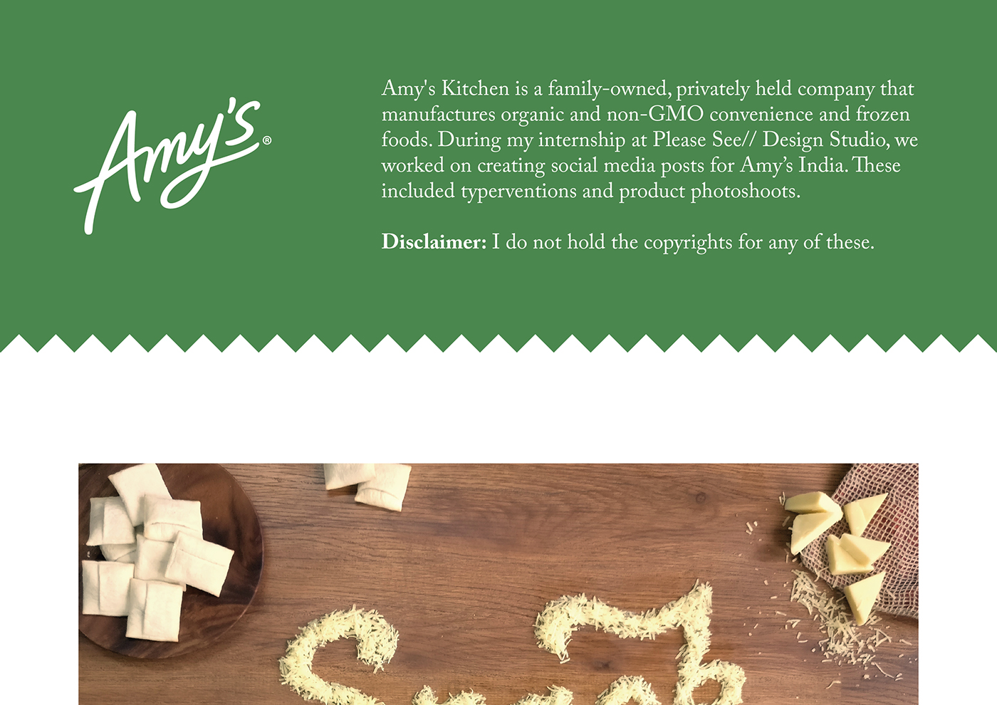 typervention Food  Product Photography typography   India Cheese amys Amys Kitchen