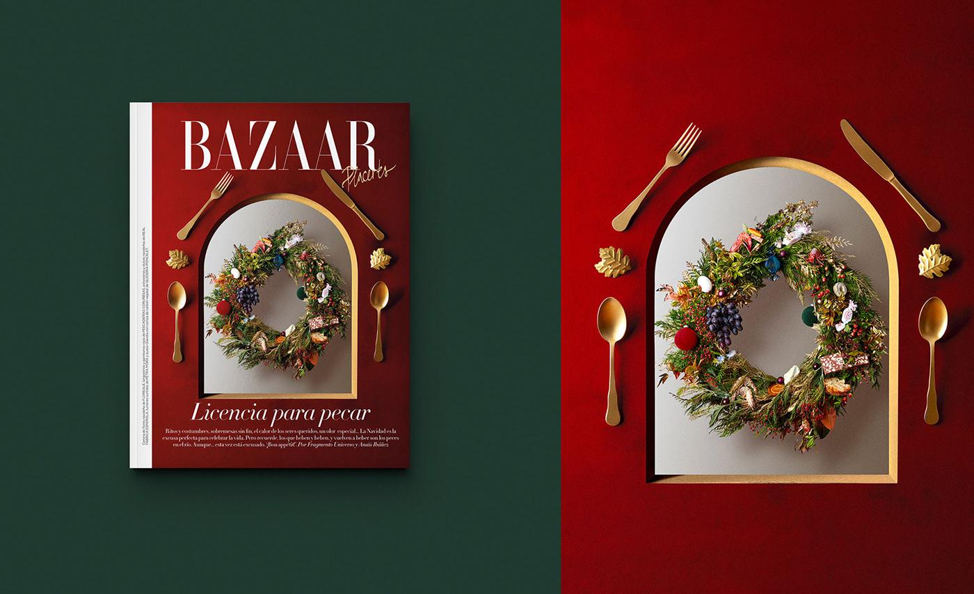 art direction  Christmas Christmas wreath cocktail conceptual dinner dish Food  seafood still life