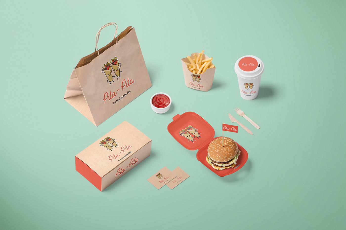 branding  Fast food burger pita greek food Food  germany Trikala logo Greece