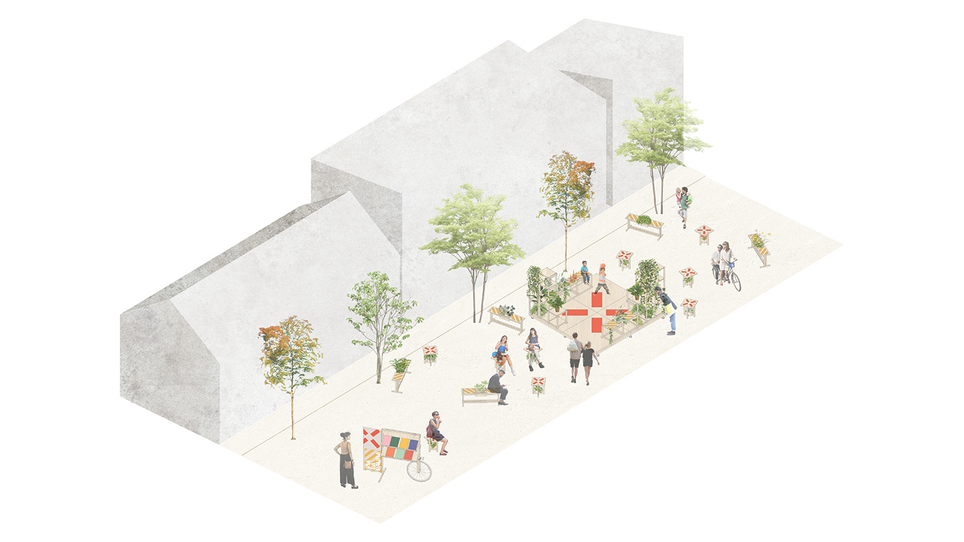 Temporary scalable urban installation designed to encourage people to enjoy the public spaces again.