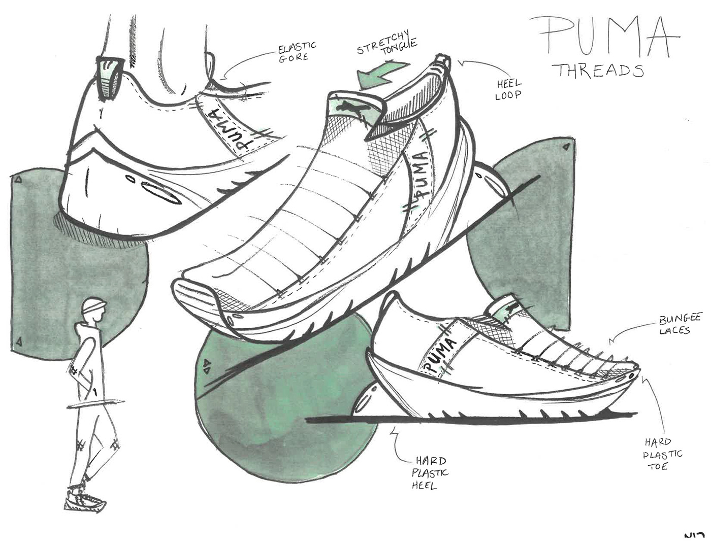 Nike sneakers sketches concept