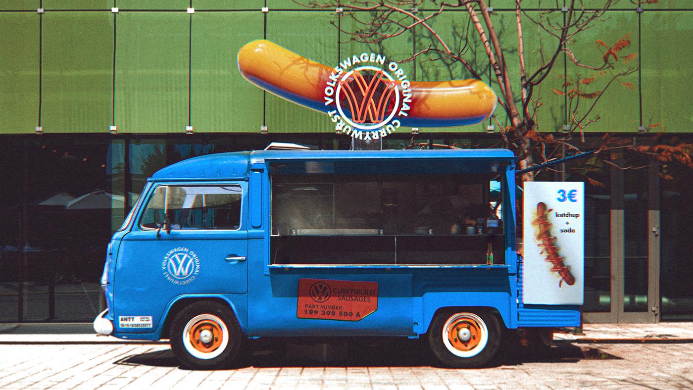 3D ArtDirection blender branding  currywurst design motion sausage volkswagen blender3d