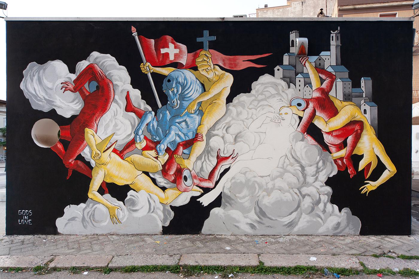 art Character design  contemporary handmade illustrations Mural MURALISMO painting   streetart wall