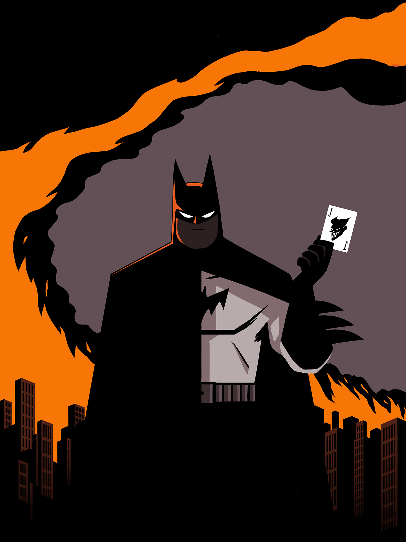 batman joker Bruce Wayne two faces animated serie poster affiche orange dark