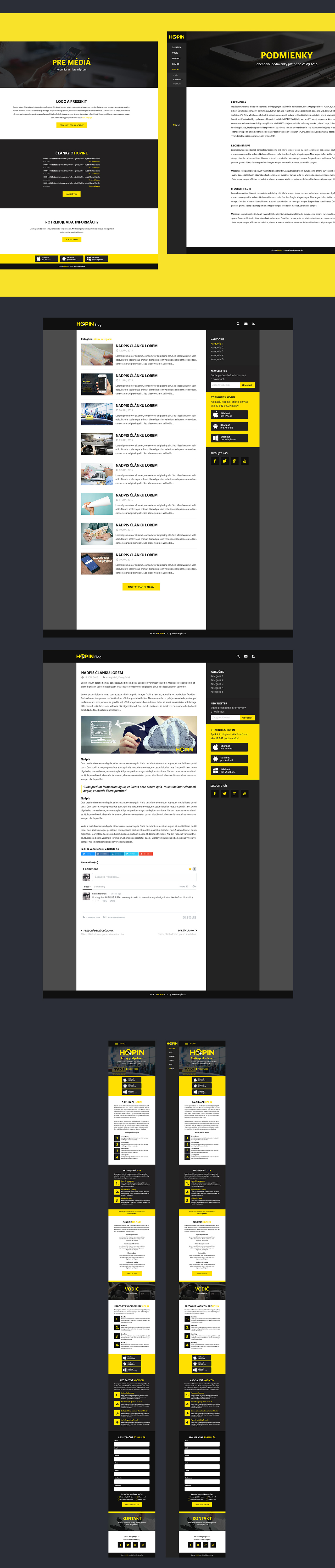 Website redesign UI taxi mobile application